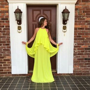 Canary Yellow Lime Waterfall Wing Sleeve Dress